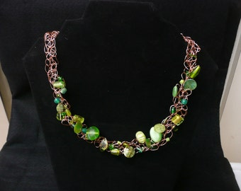 Bead and Copper Wire Necklace