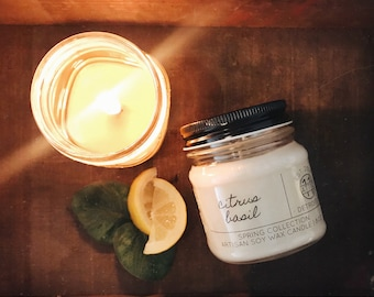 Citrus Basil - Hand Poured Soy Candle - Spring and Summer