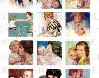 """MOTHER and BABY Digital Collage Download. 2"""" x 2"""" Printable Digital COLLAGE Sheet. Vintage Illustrations Digital Collage Print. Mother's Day"""