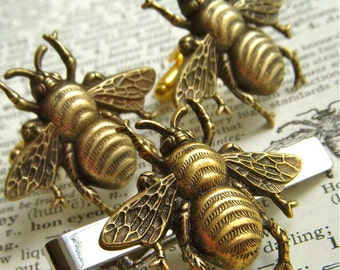 Big Bee Cufflinks Tie Bar Set of 3 Large Bold Statement Cufflinks Antiqued Brass Bees Gothic Victorian Men's Accessories New Men's Cufflinks