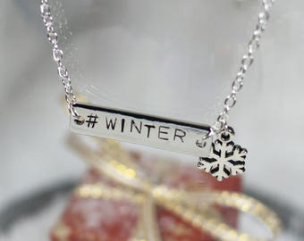 Necklace engraved #WINTER and his snowflake - Once Upon a Fantasy