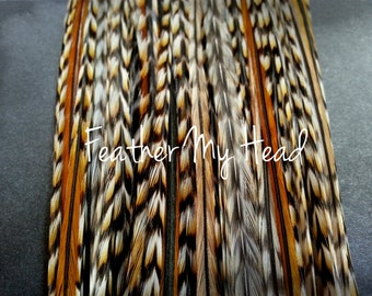 10 Natural Cree Hair Feathers (Rare) Medium Length 7 to 9 inches Long (18-23cm) Feather Hair Extensions