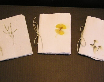 Botanical Paper Notebook, Pressed Flower, Memory Book, Handmade Paper, Blank Notebook, Botanical Booklet, Deckle Edge, Recycled Paper