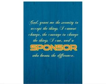 Serenity Prayer/Sponsor Funny Sobriety Card