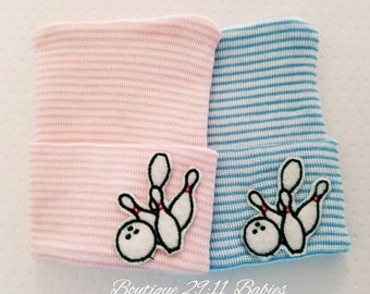 Newborn Bowling Hospital Hat - Baby Shower Gift-newborn Bowling hat-infant beanie-infant Bowling hat-coming home hat