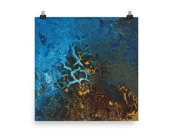 Earth 2 | Topographical Painting | Browns and Blues | Abstract Painting