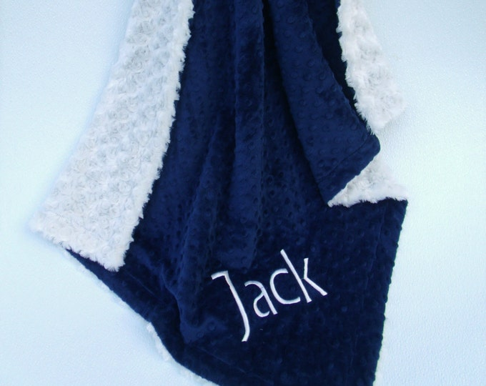 Cream Rosebud Swirl and Navy Dot Minky Blanket, Navy and Ivory Baby Blanket, Cream Navy Minky Baby Blanket