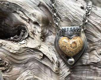 Fossilized Coral Heart and Crown Pendant Necklace - Sterling Silver