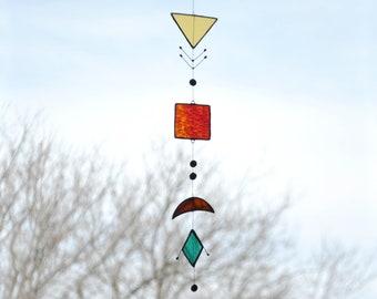 Navajo Suncatcher,Glass suncatcher,Window suncatcher,Stained glass,Hanging Mobile,Red suncatcher,Yellow suncatcher,Native Art,Outdoor decor