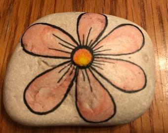 Pink Daisy - flower rock art