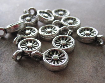 10  Antiqued Silver Pewter Flower Charms -  8X8mm - JD81
