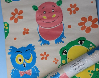 Vintage Roll of Oversize Animals, Wallpaper, Childs, Pink, Yellow, Green Blue, Eisenhart, Frog, Owl, Hippo, 2 Rolls