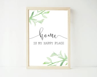 Home Is My Happy Place Green Foliage Watercolor Print, Poster Prints, Home Decor, Wall Art Prints