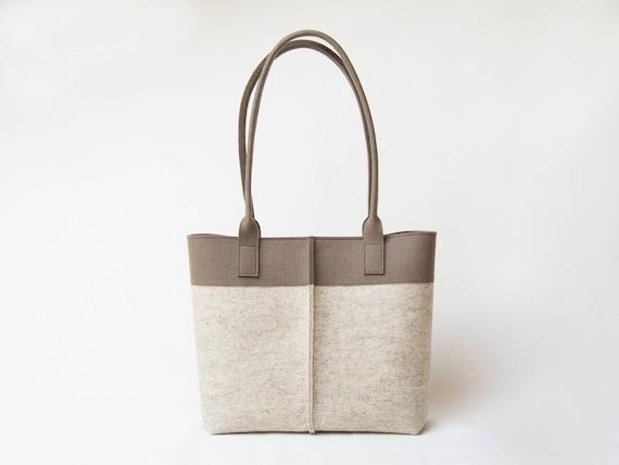 Wool Felt TOTE BAG beige and taupe / bicolor tote bag / womens bag / felt shoulder bag / carry all bag / blue bag / made in Italy