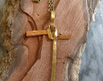 Hammered Copper and Brass Cross Pendant