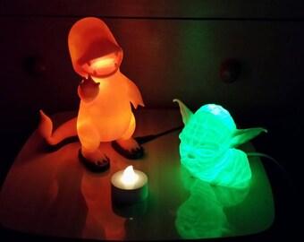 Customed lamp, 3d printed lamp, geek lamp, figures, gaming, geek, gift, office, perfect gift, christmas, birthday