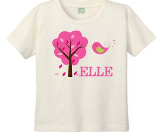 Natural T Shirt, Personalized T-shirt for Toddlers and Children with Pink Tree and Bird Customized with Name, Tree art, Nature shirt