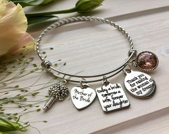 Wedding gift for Mother-of-the-Bride Gift from Daughter Gift from Groom to Mother-in-Law Wedding Gift from Groom Mother-of-Bride Bracelet