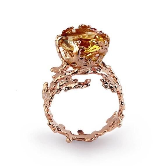 CORAL Citrine Engagement Ring 14k Rose Gold Citrine Ring