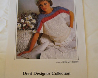 DENT Designer Collection Knitting Pattern 8411 by Mary Ann Hobson Short Sleeved Sweater in Linen Cotton Silk