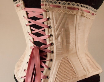 1893 historical custom corset in silk with cording