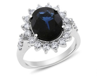 4.81 Ct. Natural Diamond & Oval Sapphire Diana Inspired Halo Ring In Solid 18k White Gold