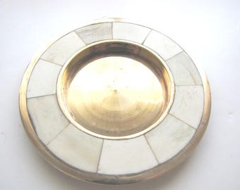 Vintage Brass Decor Brass Plate Trinket Dish Brass and Marble Dish From AllieEtCie