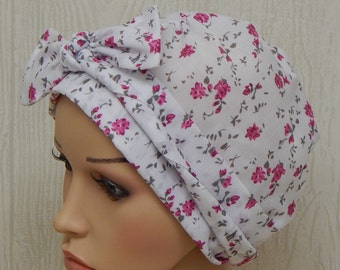 White Floral Chemo Cap, Cotton Cancer Head Wraps, Hair Loss Scarves, Chemo Head Wear, Cancer Head Scarf