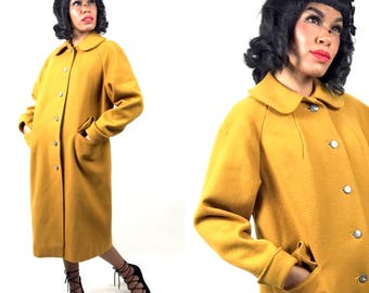 1950s 1960s Marigold Mustard Yellow Wood Blend Cocoon Coat • Medium • Peter Pan Collar • Winter Coat • Full Length