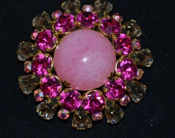 Vintage Pink Red Rhinestone Crystal Brooch Pin marked Austria