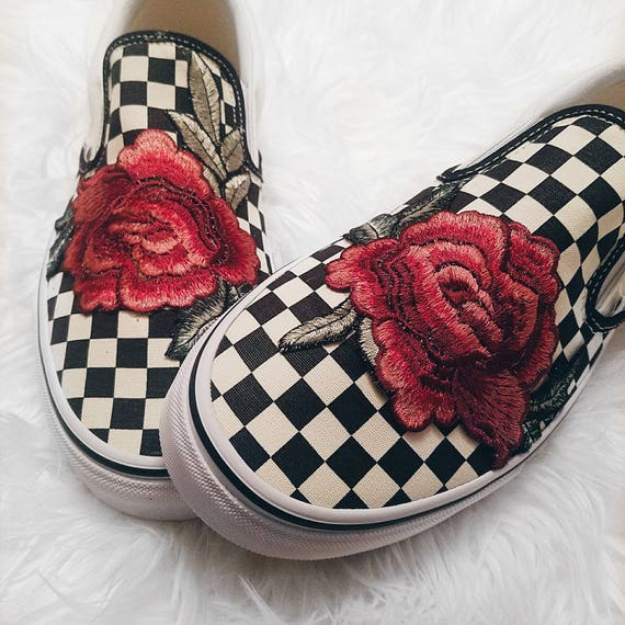 Custom Slip On Red Rose VANS Floral Embroidered Unisex Checkered