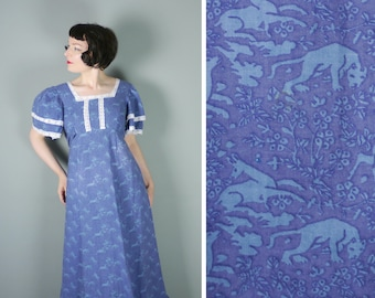 70s LAURA ASHLEY dress in HERALDIC lion and deer print - historical empire regency cut with tiered flutter sleeves - Made in Wales