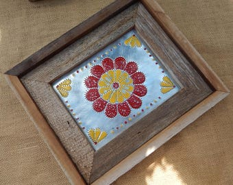 Traditional Tin Punch Zinnia Flower In Wood Frame  ~  Zinnia Wall Art  ~  Tin Punch Wall Art  ~  Traditional Tin Punch  ~  Handmade in NM