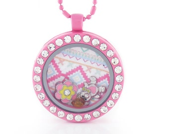 Pink Circle Rhinestone Floating Locket w/ Choice of 6 Charms