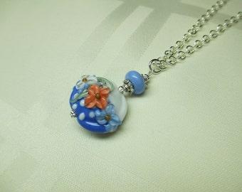 Blue and White Lentil Lampwork Bead Pendant Necklace