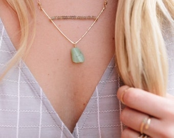Mint Chalcedony V necklace | hammered V necklace
