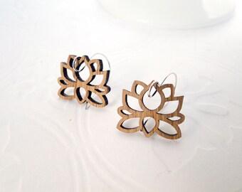 Lotus Earrings in Bamboo