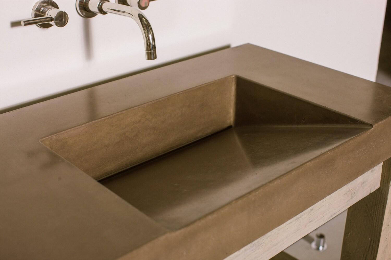 Gradient Concrete Vanity Sink Bathroom Ramp Sloped Custom