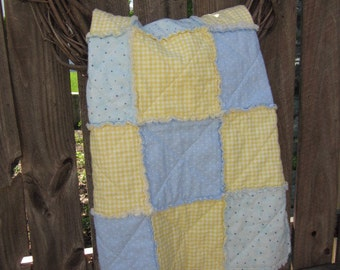 Baby Blue and Yellow Raggy Quilt, Car Seat Cover, Stroller Blanket