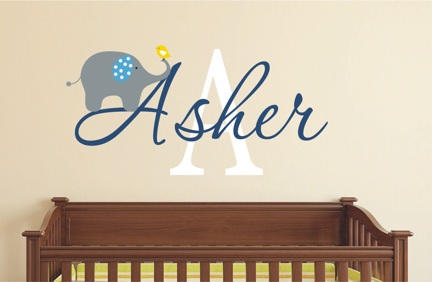 & Elephant Wall Decal - Nursery Wall Decal - Boys Decal with Elephant