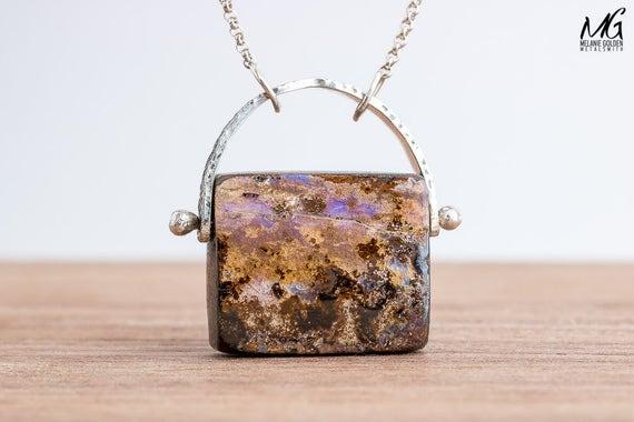 Natural Boulder Opal Necklace in Sterling Silver