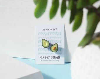 Miniature Avocado pin set, Best Friend jewelry, Friendship jewelry, Avocado jewelry, miniature food jewelry, Vegan Jewelry, BFF jewelry