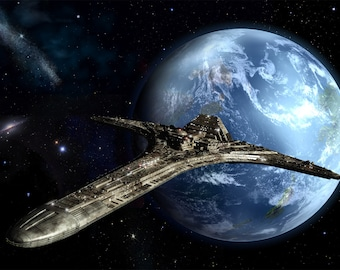 Stargate Universe Digital Art  Glossy Print  'Destiny In Orbit'