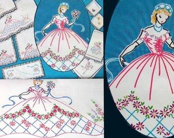 Southern Belle - Crinoline Lady pillowcase embroidery pattern V222
