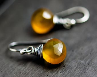 Fall Fashion Butterscotch Earrings Chalcedony Autumn Dangle PoleStar