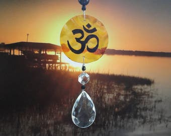Om Sun Catcher, Glass Sculpture, Ornament, Vintage Crystal, Hand Painted, Home Decor, Window Hanging, Meditation, Yoga, Garden Art, Peace