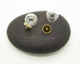 20mm glass globe + lid indented gold 10 mm X 3