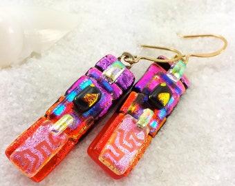 Dichroic fused glass earrings, Fused glass earrings, Hana Sakura, Dichroic red earrings, Trending style, Statement earrings, dichroic glass
