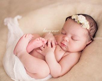 Maggie, Baby Headband, Newborn Photo Prop, Baby Girl Headband, Newborn Headband, Headband, Flower Headband, Newborn Props, Baby Headbands