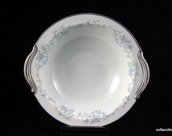 Noritake Chanesta Pattern Covered Oval Serving Bowl w Blue and